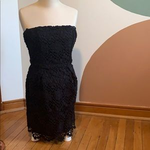 French Connection Black Lace Strapless Dress